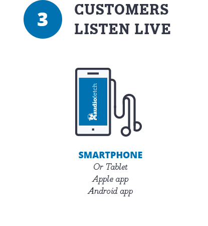 Customers listen to AudioFetch live via a smartphone or tablet