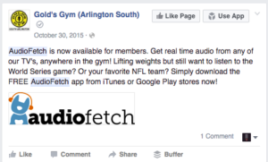 Golds Gym AudioFetch Facebook Post