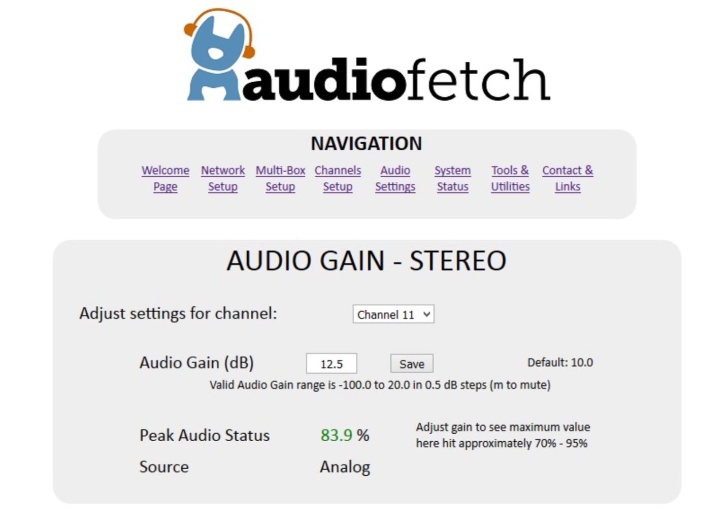 AudioFetch Doghouse Audio Gain