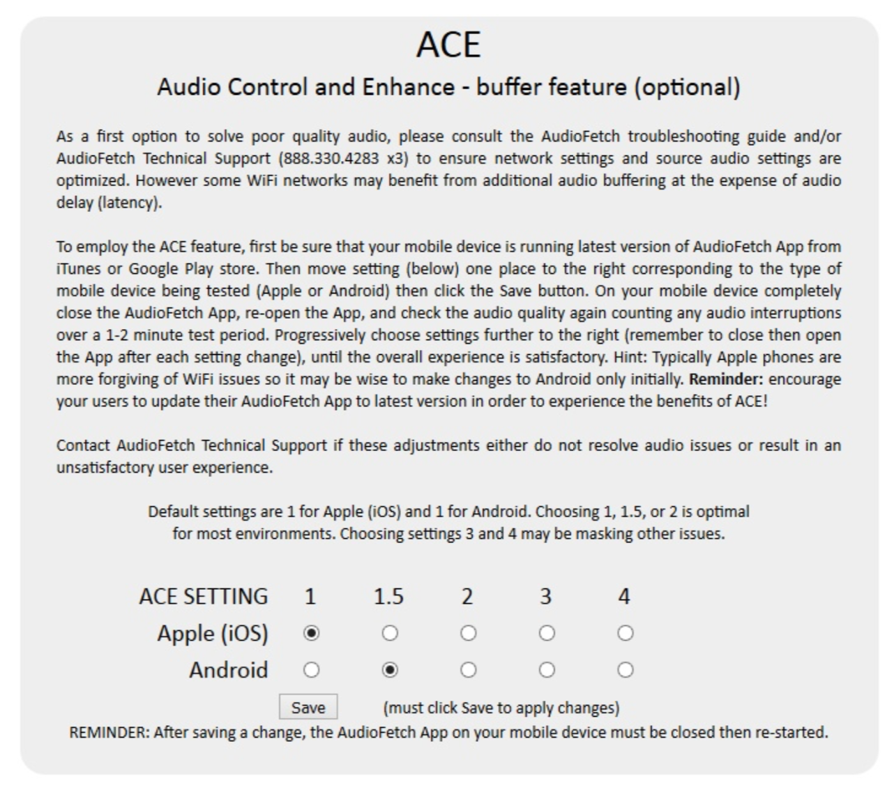 AudioFetch Doghouse Configuration - ACE