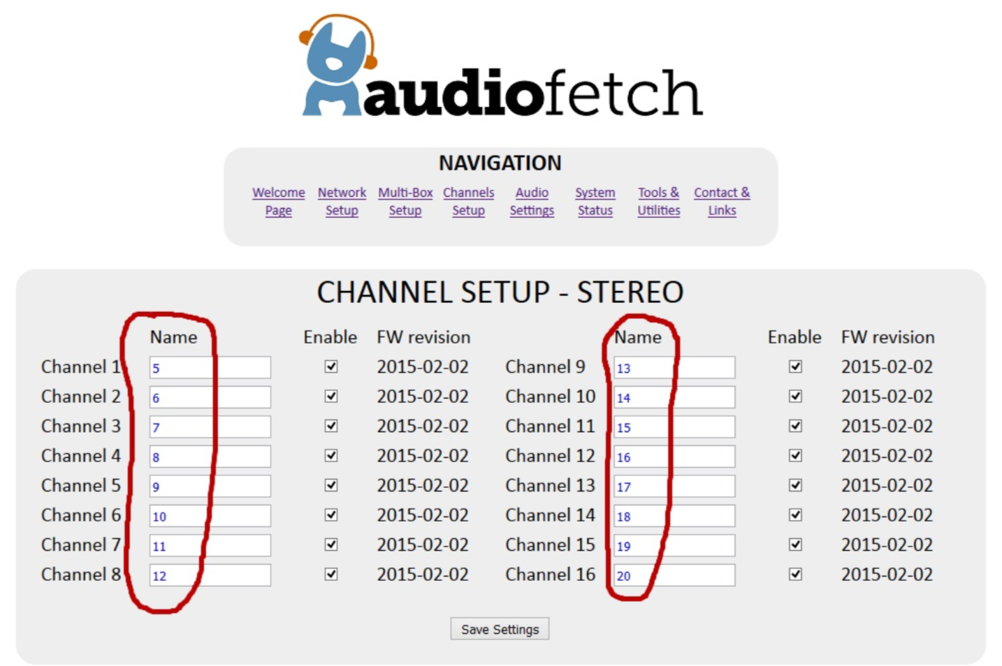 AudioFetch Doghouse Configuration - Channel Setup 2