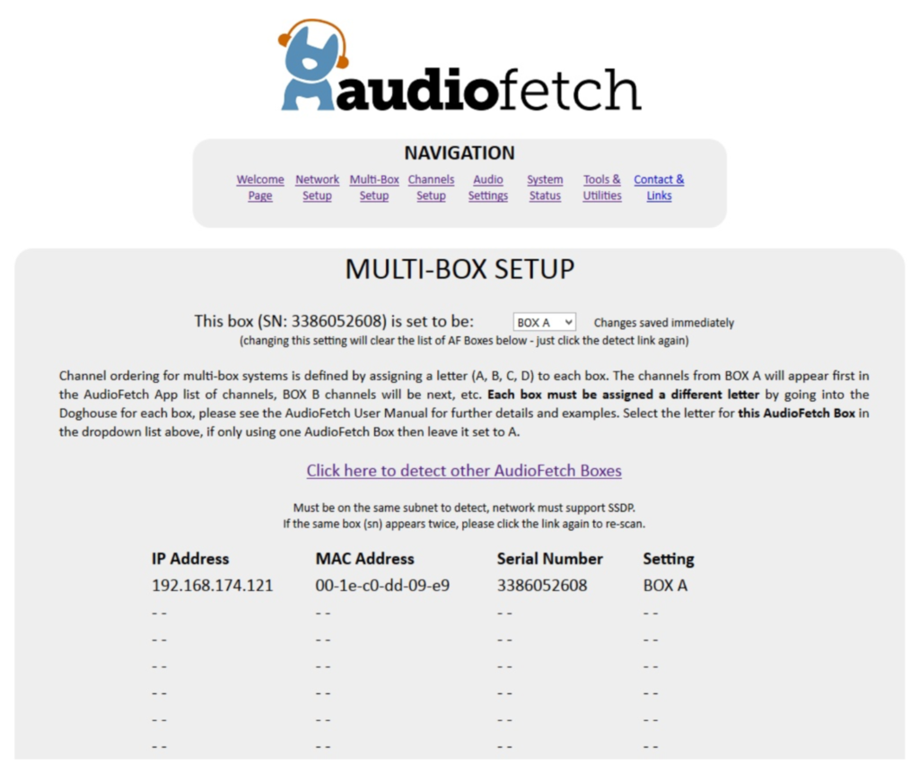 AudioFetch Doghouse MultiBox Setup