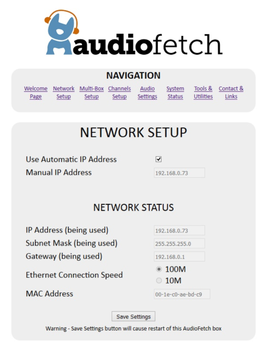 AudioFetch Doghouse Network Setup