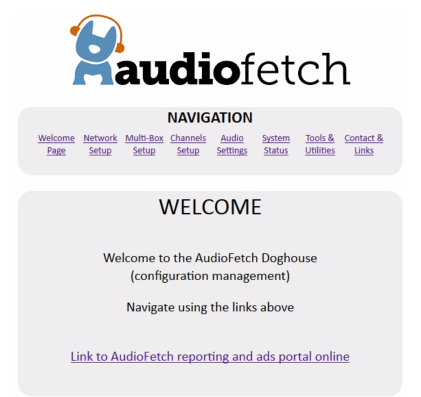 AudioFetch Doghouse Welcome Screen