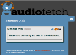 AudioFetch Ad Portal - Manage Ads