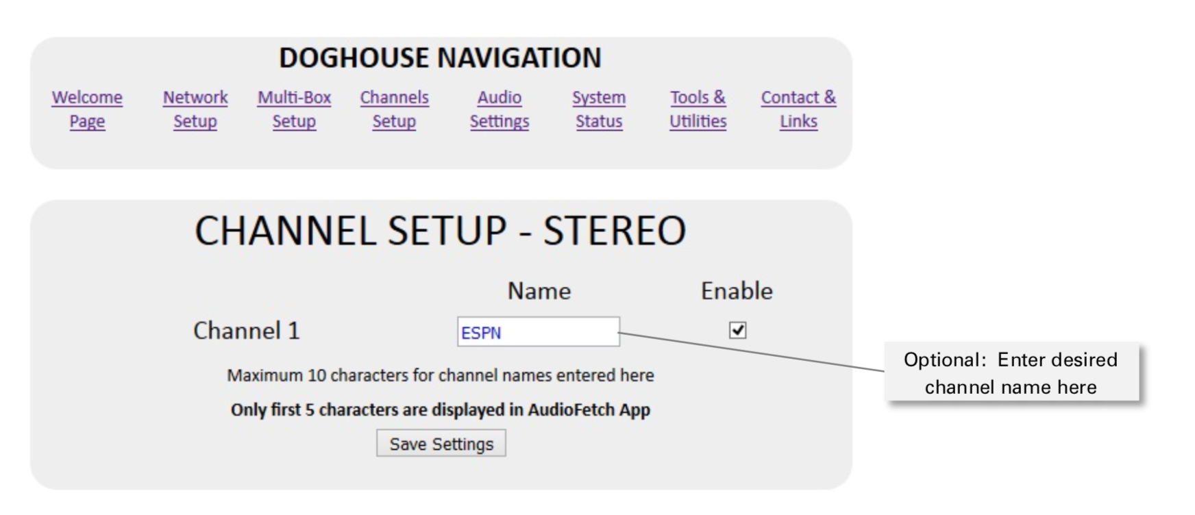 AudioFetch Express Channel Setup