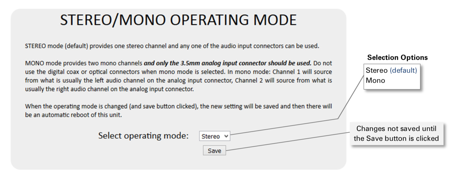 AudioFetch Express Stereo:Mono Operating Mode