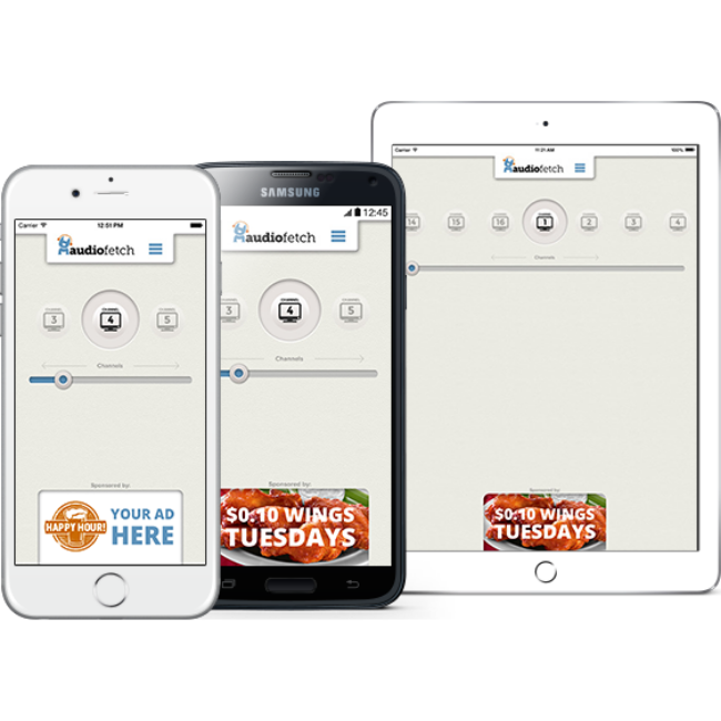 AudioFetch App with Sports Bar Ads